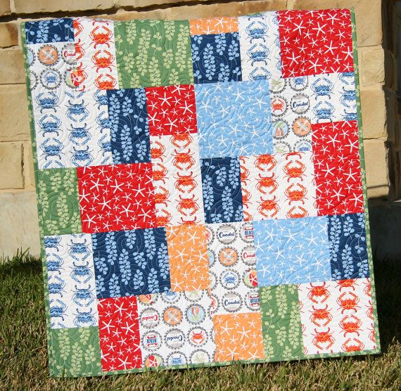 Going Coastal Baby Quilt Nautical Boy Bedding Modern Big