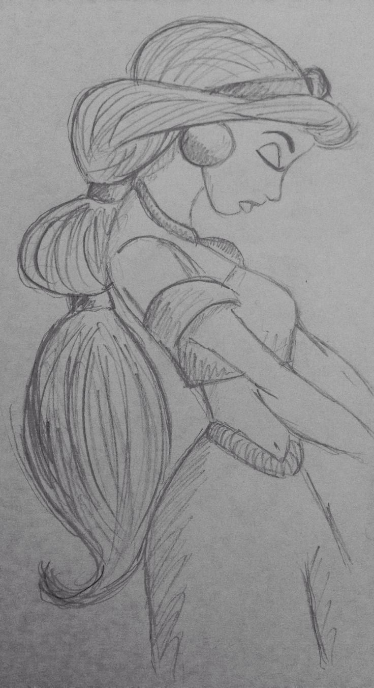 Princess Jasmine Aladdin Disney Pencil Sketch