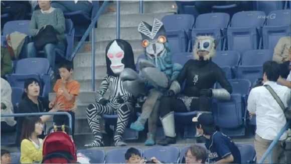 ultraman aliens attend baseball game, thrown out, never heard from again.