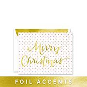 """Brand: 14 and Orange Product: 128542 Holly Red Greeting Card Send a festive greeting with this foiled greeting card. """"Merry Christmas"""" is featured in shining gold foil across the front flap while the inside holds space for a custom greeting."""