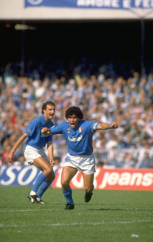 Diego #Maradona #Napoli goal celebration https://www.premiersportsmemorabilia.com/football/serie-a-italy/product/71-diego-maradona-signed-napoli-shirt.html