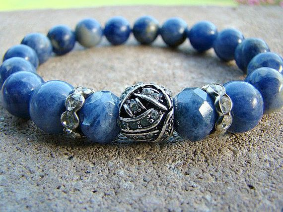 Gemstone Stretch Bracelet, Bead Bracelet Women, Blue, Gemstone Bracelet, Beaded Bracelet, Stackable Beaded Bracelets, Gemstone Stacker by BeJeweledByCandi
