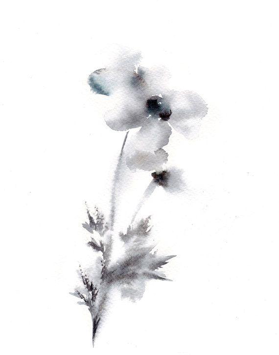minimalist flowers watercolor painting art print grey