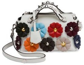 Fendi Small By The Way Floral-Embellished Leather Boston Bag
