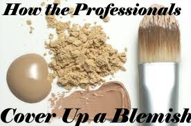 1. astringent_ 2. If you need to tone down the redness of your pimple, GOTAS PARA OJOS_3. q-tip to apply your concealer on the head of the pimple_ 4. set the concealer with powder. Use a makeup sponge and roll over the pimple to set it_5. Apply foundation to your whole face and pimple