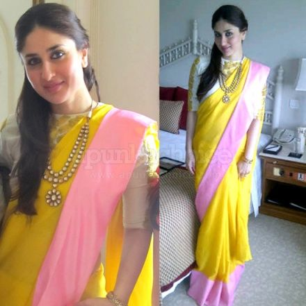 Kareena looks so so so beautiful. Thanks to the Masaba saree and the beautiful kundan necklace. Bhartiya nari with a modern touch.