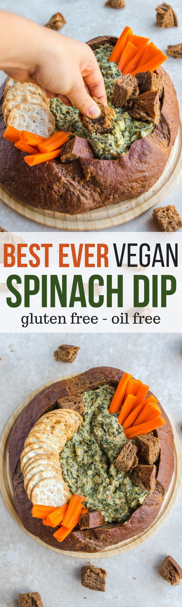 Best Ever Vegan Spinach Dip - Easy Healthy Holiday Party Appetizer