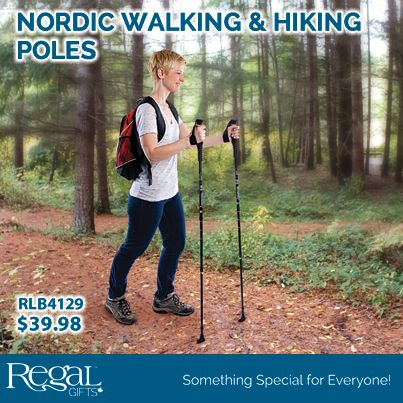 """NORDIC WALKING & HIKING POLES  Burn more calories and strengthen upper & lower body with less stress on your knees and ankles. Telescopic twist & lock aluminum poles with comfortable handles. Triple tip system: carbine tip for off road/icy terrain, rubberized rip for regular terrain, walking heel for maximum traction. Snow disks included. Extends 27"""" to 53""""L"""
