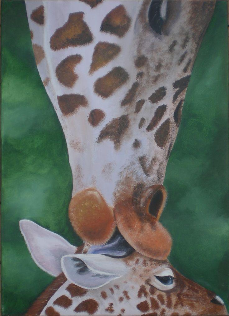 Giraf en haar telg Acryl 50x70 cm