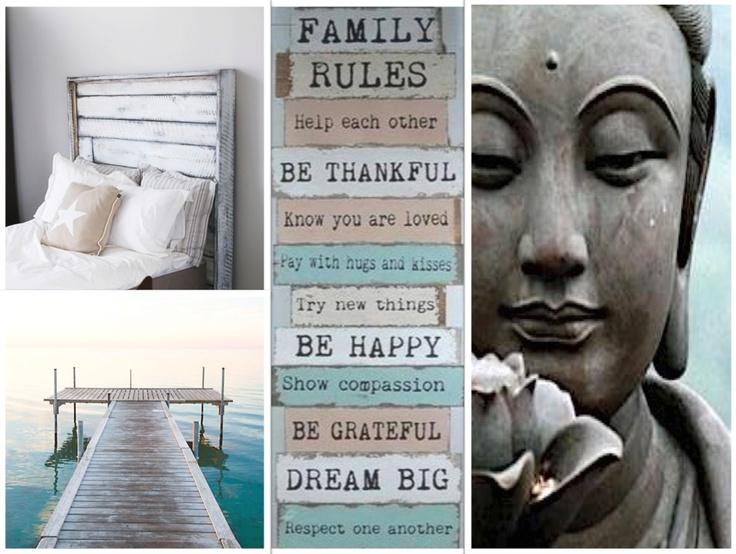 Buddha voor rust in de slaapkamer, pakkende tekst op de muur, houten bed en de kleur op de muur een pakkende zeegroen mat kalk achtige verf...