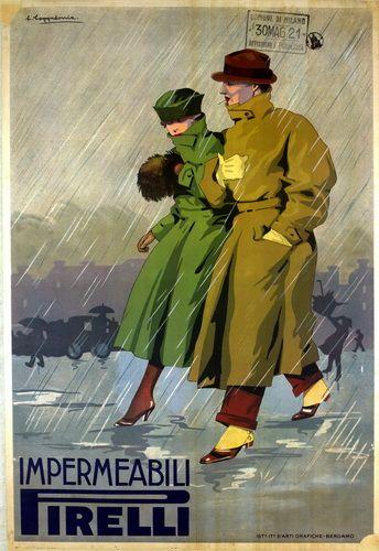 Vintage Italian Posters ~ #illustrator #Italian #posters #vintage ~ Impermeabili Pirelli.