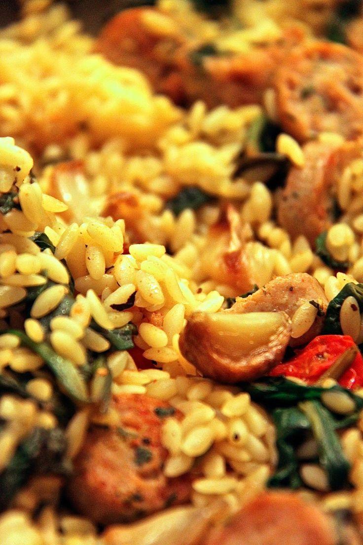 Jenessas Dinners: Roasted Garlic Orzo with Chicken Sausage