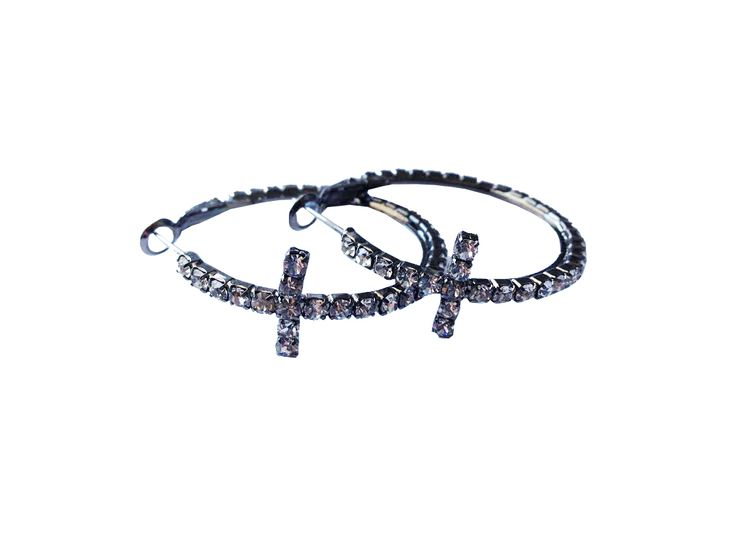 Show your faith in these crystal hoop earrings! Hematite finish – Clear stone. 1.5″ inner diameter