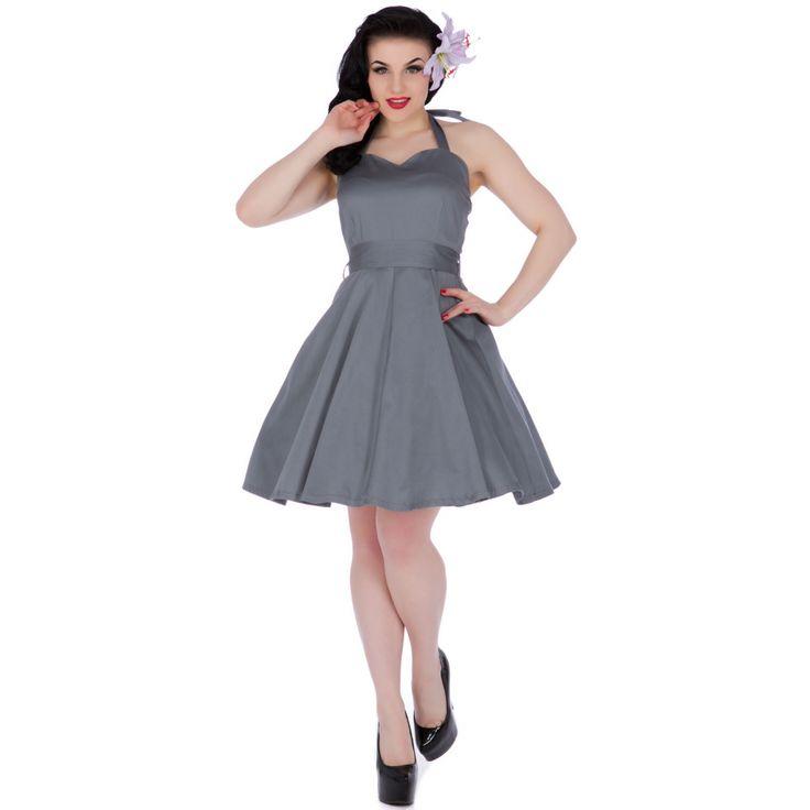 Nancy Sweetheart Neck 50's Dress in Grey
