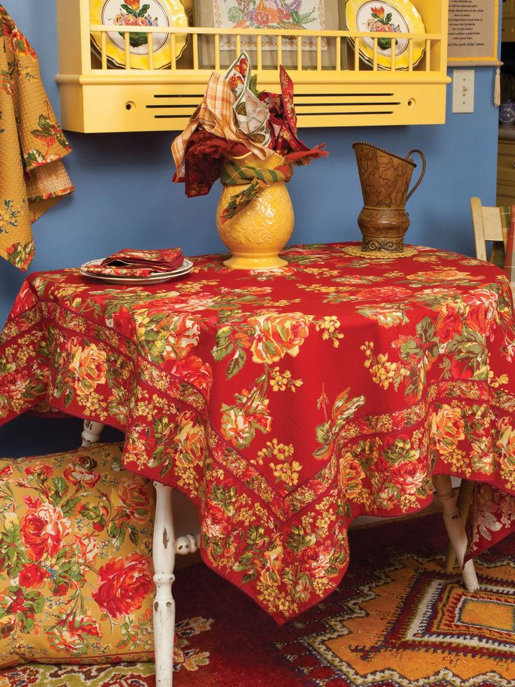 Victorian Rose Tablecloth - Brick | New Arrivals, Kitchen Linens :Beautiful Designs by April Cornell