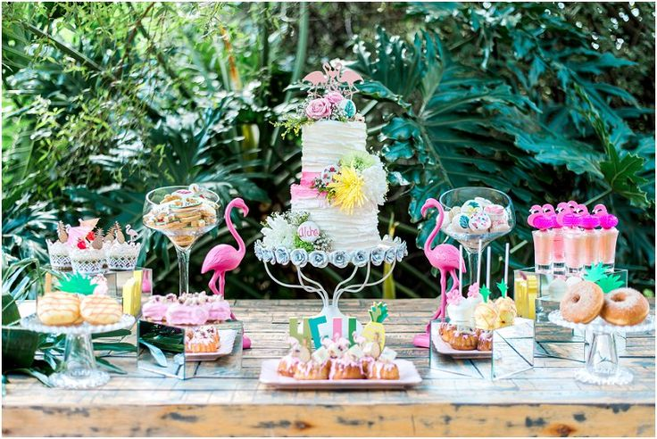 Tropical Safari Wedding Wedding cake and dessert table Casablanca Manor Wedding Venue Photo credit: Ironrose
