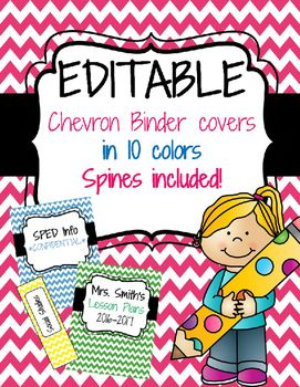Get organized this year with these editable, colorful chevron binder covers and…