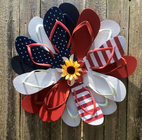 24 American Flag inspired Flipflop wreath. 8 pairs of flip flops Perfect for Memorial Day Forth of July Labor Day Veterans Day Summer Or everyday