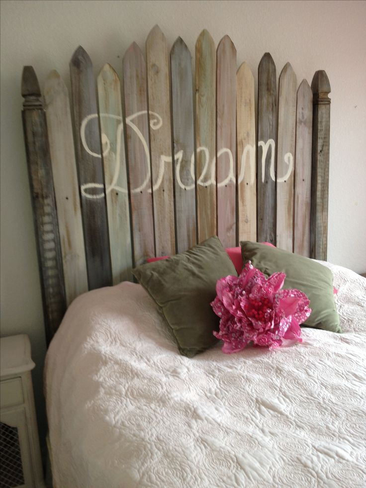 Handmade old fence headboard.