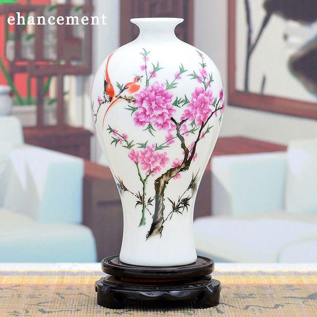 Antigo De Cerâmica Chinesa de Jingdezhen Vaso Meiping Classical Famille Rose Vaso de Flor Decoração de Casamento de Porcelana Branca Presente