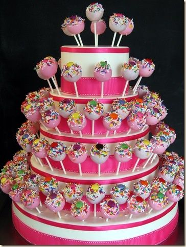 Make a cake pop holder that resembles a wedding cake out of decorated, different-sized styrofoam hoops. Sounds darling.
