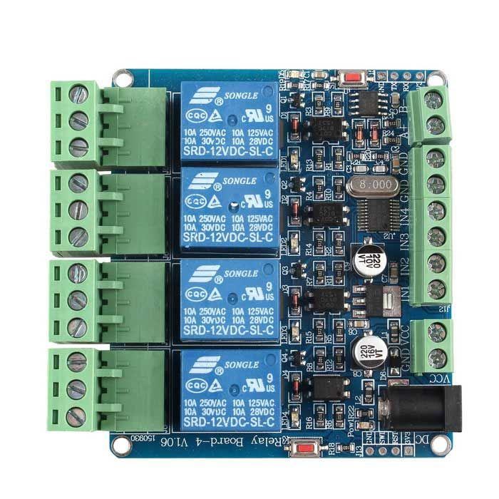 4 Channel Relay Module Programmable With RS485 Microcontroller STM8S103F3 For Arduino PIC AVR ARM. Find the cool gadgets at a incredibly low price with worldwide free shipping here. 4 Channel Relay Module Programmable w/ RS485 STM8S103F3, Relays , . Tags: #Electrical #Tools #Arduino #SCM #Supplies #Relays