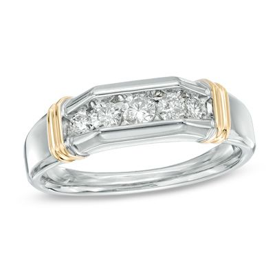 Zales Mens 1/3 CT. T.w. Diamond Fleur-de-Lis Ring in Sterling Silver and 10K Rose Gold 6Iml4S