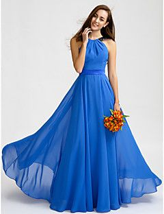 Lanting Bride® Floor-length Chiffon Bridesmaid Dress - A-line Jewel with Lace / Sash / Ribbon – USD $ 255.00