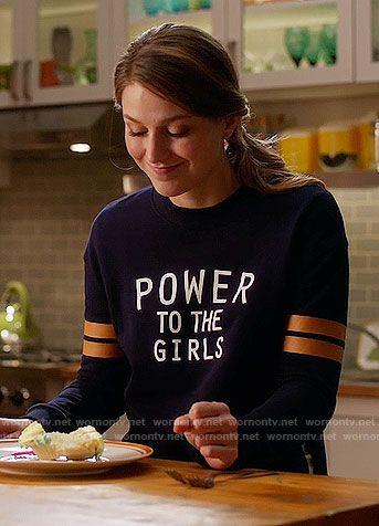 Kara's 'Power to the Girls' sweatshirt on Supergirl.  Outfit Details: https://wornontv.net/65496/ #Supergirl
