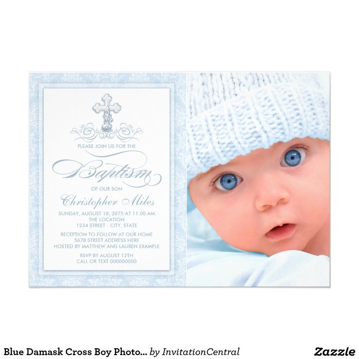 33 best boy baptism invitations ideas images on pinterest blue damask cross boy photo baptism invitations stopboris Image collections