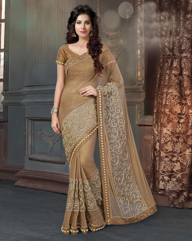Brown Knit Party Wear Saree 78525