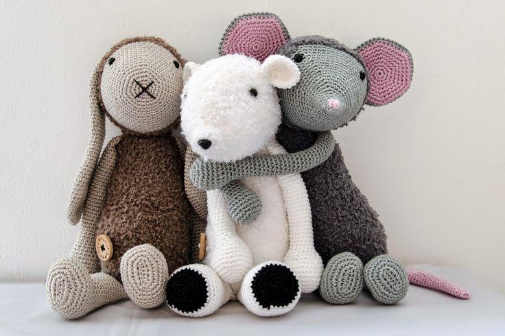 Haakpatroon konijn Kiki, muis Febee en ijsbeer Davie #haken #haakpatroon #amigur…