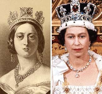 Portrait of Queen Victoria & Queen Elizabeth II (in 1966.) The only two British monarchs to reign long enough to celebrate a Diamond Jubilee. (© Universal History Archive/Getty Images; AP)