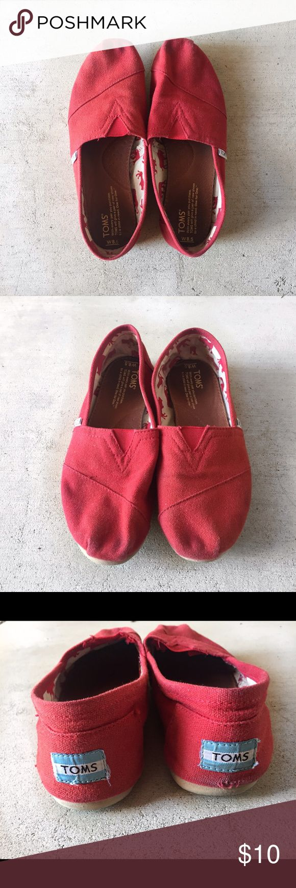Toms shoes 8.5! Red color. worn a few times, scuffed on the right heel. and a little faded in the tie area. other than that in great condition! TOMS Shoes