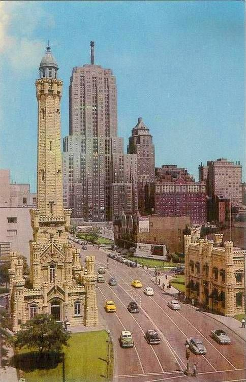 1950's aerial looking north from Water Tower to Drake Hotel, Chicago