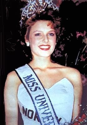 """""""The beauty queen from Hell""""  - Miss Universe 1990, Mona Grudt, Norway, was born 1971 in HELL, Stjørdal, Norway. - She was the first and only Norwegian to win the Miss Universe title."""