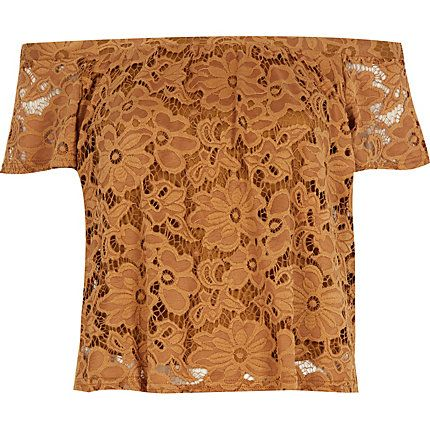 Light brown lace bardot top £25 #riverisland