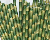 Paper Straws, 25 Bamboo Paper Straws, Cocktails, Margaritaville Tropical Party  Party, Happy Hour,  Luau, Jungle, Pool, Wedding, Birthday