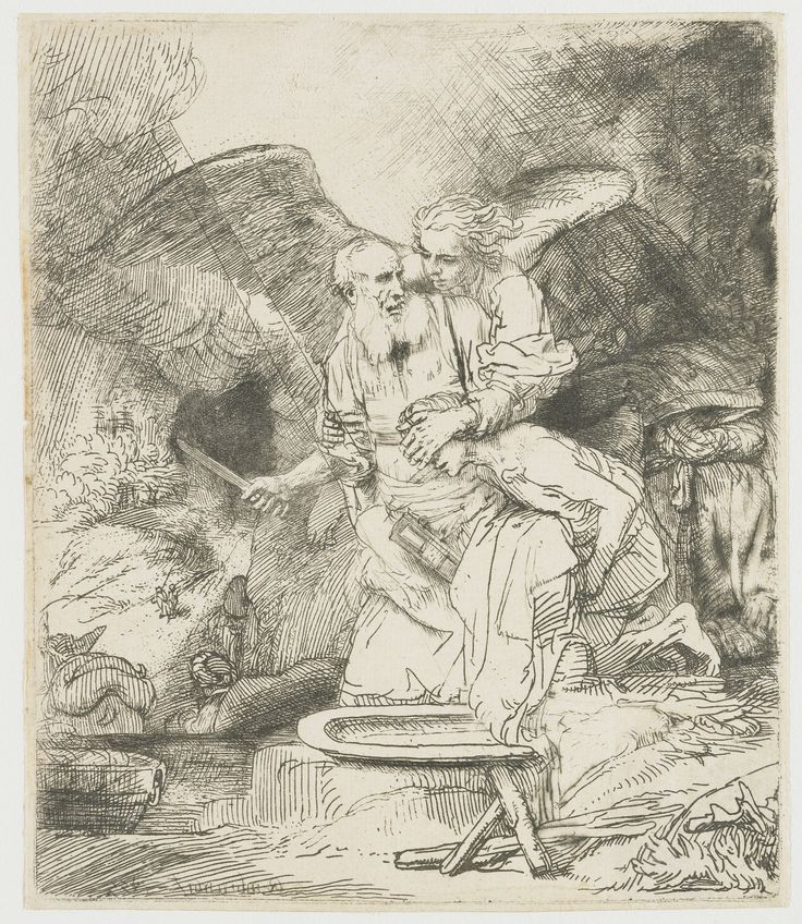 The sacrifice of Abraham by Rembrandt Harmensz. van Rijn, 1655. Rijksmuseum, Public Domain