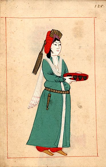 Maidservant.   Claes Rålamb (8 May 1622 – 14 March 1698) was a Swedish statesman. The 'Rålamb Costume Book' is a small volume containing 121 miniatures in Indian ink with gouache and some gilding, displaying Turkish officials, occupations and folk types. They were acquired in Constantinople in 1657-58 by Claes Rålamb who led a Swedish embassy to the Sublime Porte, and arrived in the Swedish Royal Library / Manuscript Department in 1886.