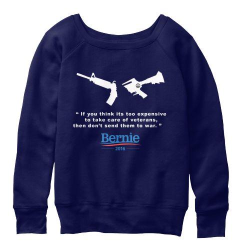 Peace Bernie Navy  T-Shirt Front