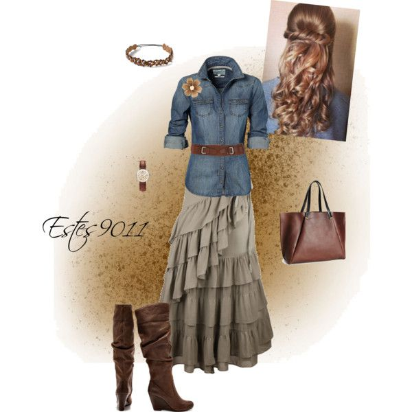 Fun Fall Skirt and belted denim shirt with boots.