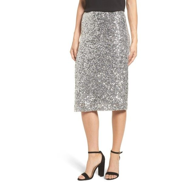 Petite Women's Halogen Sequin Pencil Skirt ($89) ❤ liked on Polyvore featuring skirts, petite, silver, sparkly pencil skirt, petite pencil skirt, sequin pencil skirt, silver skirt and sequin skirt