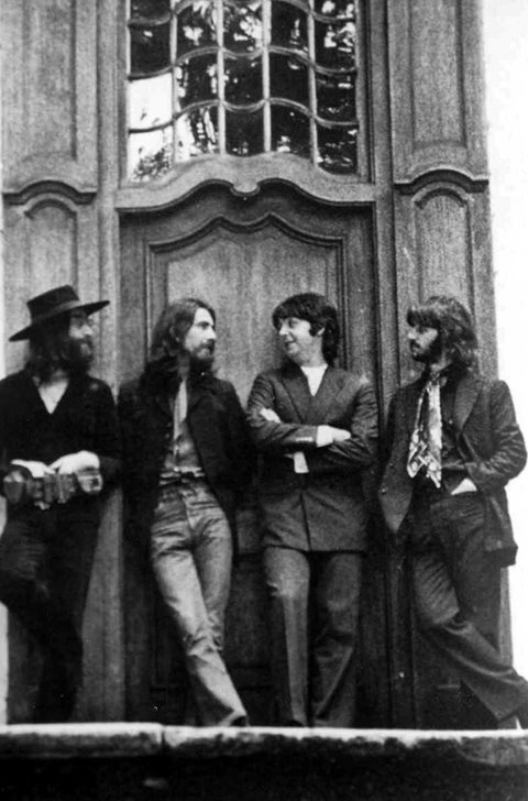 // The Beatles final photo shoot in 1969 was at John Lennon's estate , Tittenhurst. Pictured here outside the front entrance of The Assembly Hall.