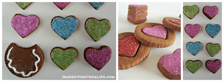 """non-edible cinnamon spice dough Valentine's """"cookies"""" with glitter frosting"""