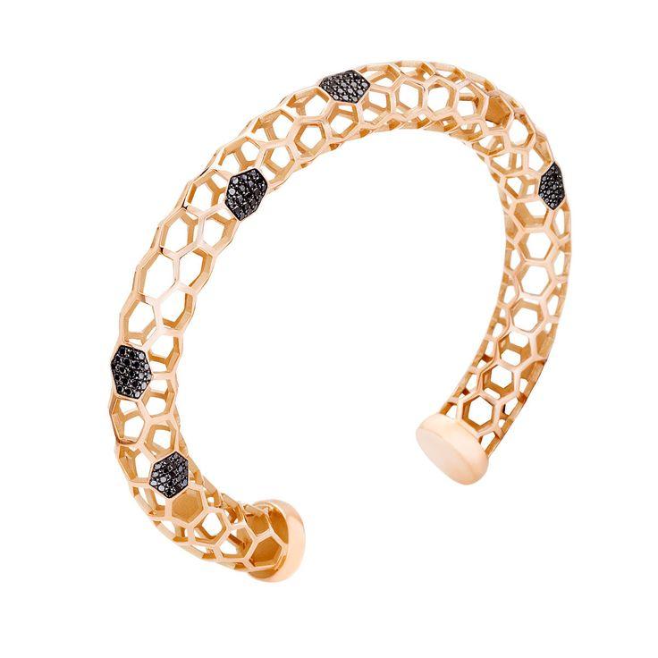 #MelissaKayeJewelry Ava Louise #bracelet in #18k pink #gold with #diamonds #jewelry #finejewelry #pinkgold #blackdiamonds #fashion #style