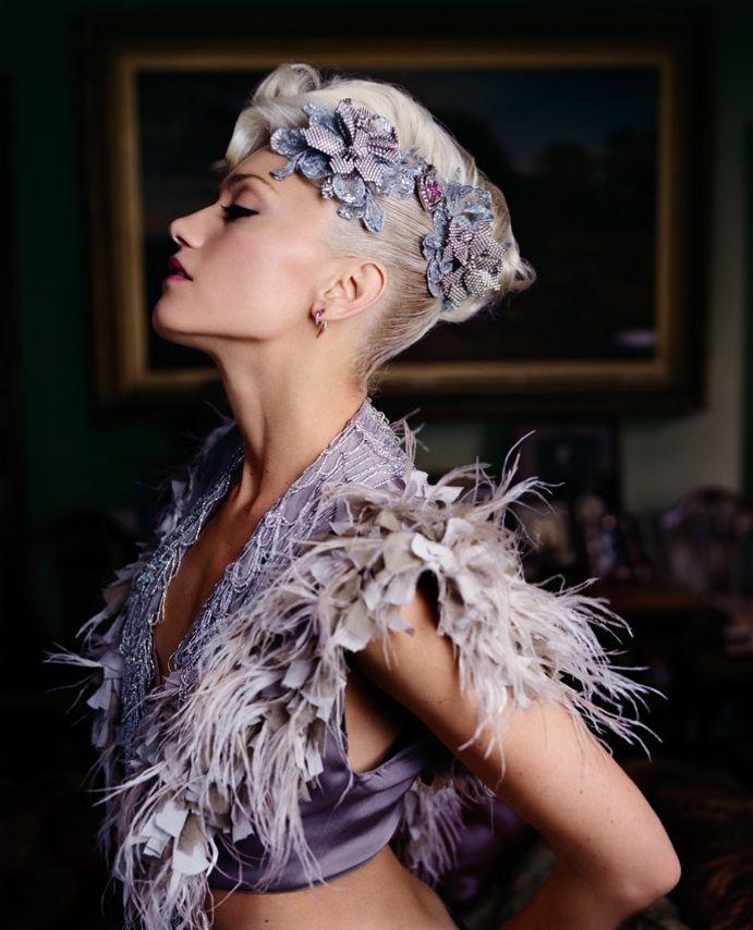 gwenGwenstefani, Gwen Stefani, Fashion, Purple, Beautiful, Celebrities Portraits, Feathers, Flower, Lorenzo Agius