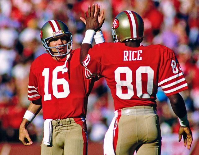 Joe Montana and Jerry Rice celebrate a touchdown during a 1986 Cardinals-49ers game. (Greg Trott/AP) GALLERY: San Francisco 49ers Glory Years