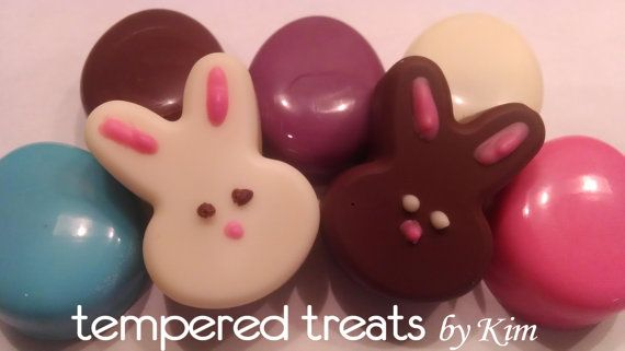 chocolate rabbit, mini chocolate bunnies for Easter with mini oreo cookies inside or mini nutter butters.