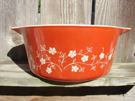 Red Pyrex Casserole Dish by RusticBrickRd on Etsy, $13.50